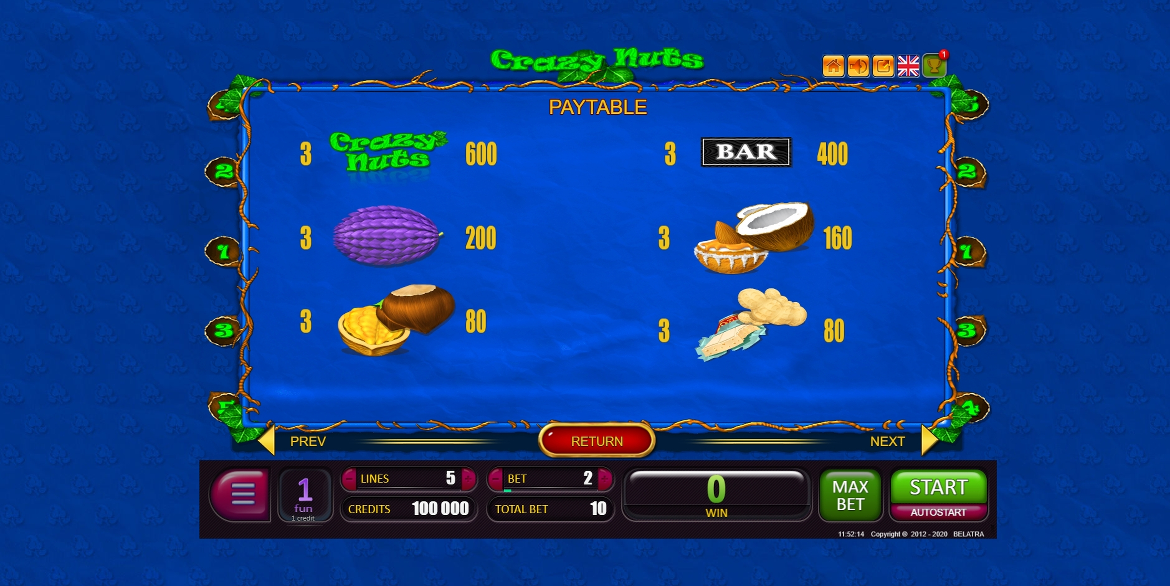 Info of Crazy Nuts Slot Game by Belatra Games