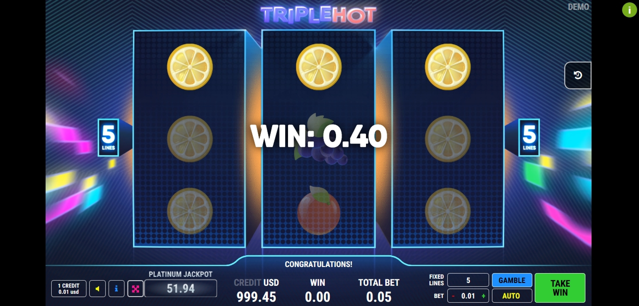 Win Money in Triple Hot	 Free Slot Game by Fazi Gaming